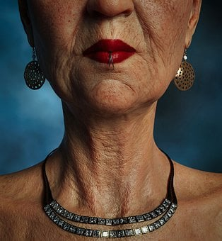Woman, Old, Piercing, Mouth, Chain, Skin, Wrinkled