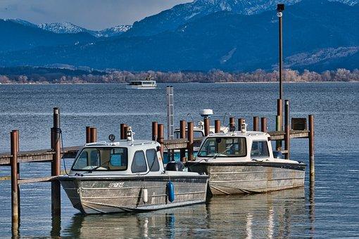 Lake, Dock, Boats, Mountains, Jetty, Pier, Port