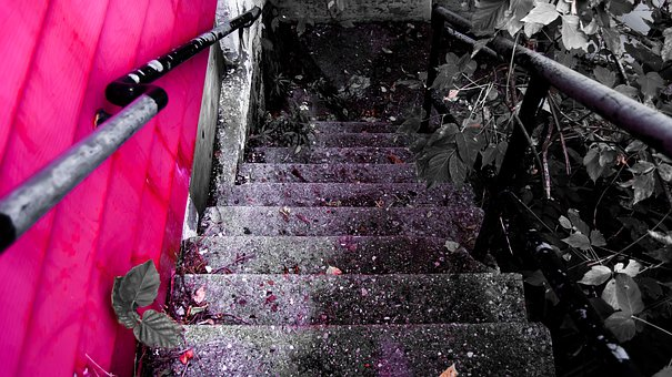 Stairs, Hospital, Abandoned, Red, Architecture