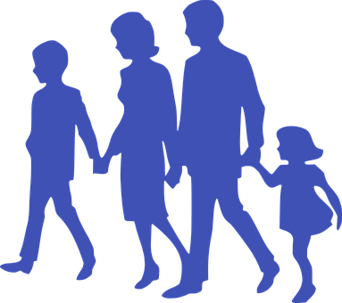 Family, Together, Silhouette, Holding Hands, Parents