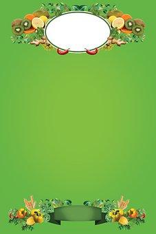 Poster, Blank, Green, Veggies, Sign, Frame, Border