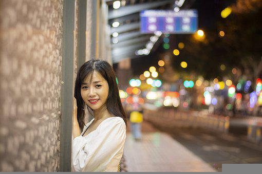 Smiling, Happy, Bokeh, White, Young, Girl, Street