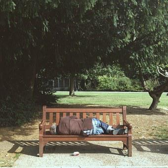 Down-and-out, Bommer, Hobo, Park, Bench, Stranger