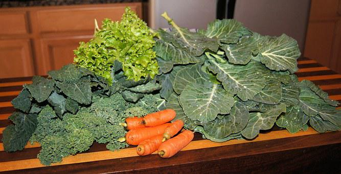 Veggies, Greens, Garden, Collards, Kale, Carrots
