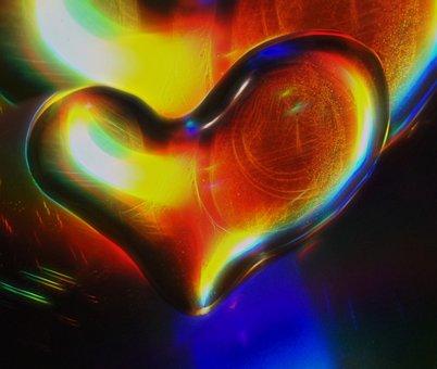 Water, Heart, Spectrum, Droplet, Rainbow, Color, Light
