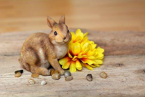 Hare, Easter Bunny, Dekohase, Flower, Yellow, Dekoblume