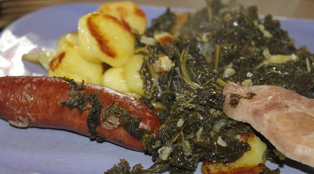 Kale, Smoked Pork Chops, Fried Potatoes, Eat