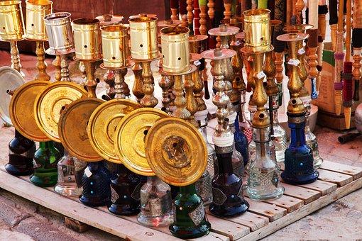 Arabian, Arabic, Colorful, Glass, Gold, Hookah, Metal