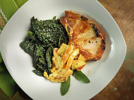 Pork, Chop, Grilled, Kale, Applesauce, Apple, Plate