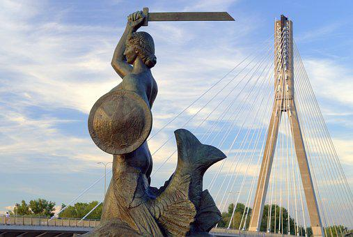 Warsaw, Siren, Mermaid, Monument, The Statue, Sculpture