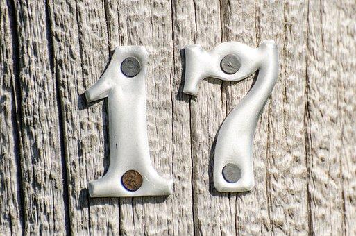 Numbers, 17, Metal Numbers On Post, Wooden Post, Metal