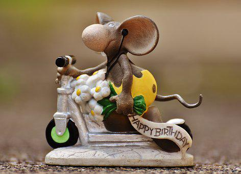 Birthday, Mouse, Roller, Fig, Cute, Greeting