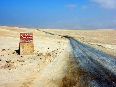 Peru, Desert, Sign, Road, Way, Horizon, Sand, No People