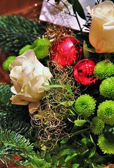 Christmas Bouquet, Christmas, Red Balls, Angel Hair
