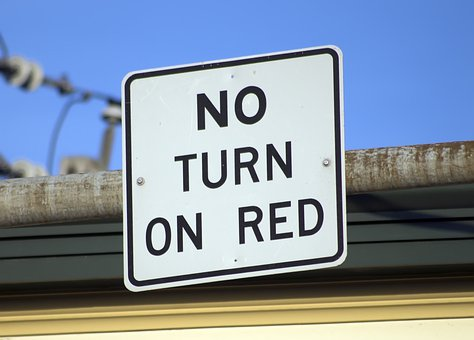 No Turn On Red, Sign, Road, Roadsign, Road Sign