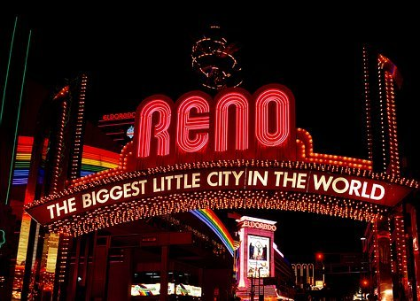 Reno, Nevada, City, Urban, Sign, Neon, Lights, Bright