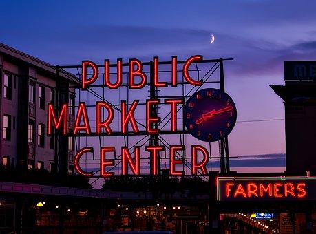 Seattle, Washington, Sunset, Dusk, Evening, Sky, Clouds