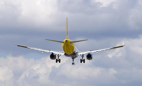 Plane, Tail, View, Landing, Clouds, Sky, Jet, Passenger
