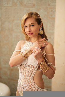 Fashion, Woman, Knitted Swimsuit, Pearl, Bijouterie