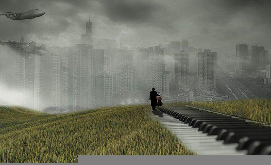 Fantasy, Piano, City, Musician, Road, Walkway, Field
