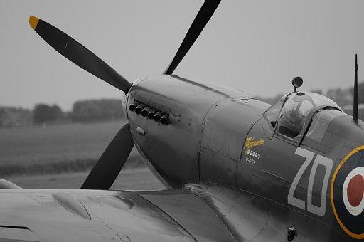 Aircraft, Spitfire, Monochrome, Vintage, Old, Propeller