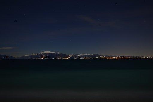 Sky, Mountains, City, Night, Panorama, Night Sky, Town