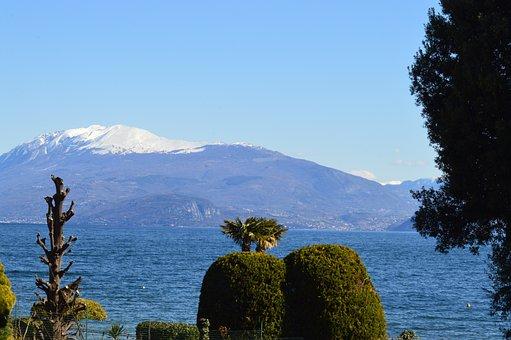 Lake, Mountain, Plants, Bank, Snow Capped, Fog, Sky