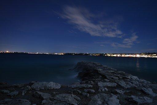 Sea, City, Sky, Night, Panorama, Clouds, Stars, Starry
