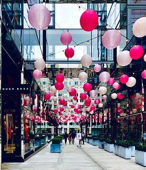Shopping Mall, Hanging Lanterns, Path, Walkway, Mall