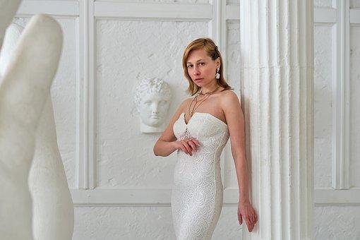 Wedding Dress, Bride, Column, Fashion, Style, Elegant