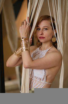 Fashion, Woman, Knitted Swimsuit, Swimsuit, Curtain