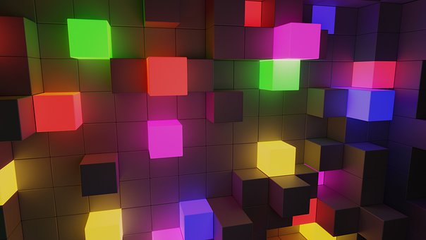Cubes, Light, Abstract, 3d, Glow, Structure, Design