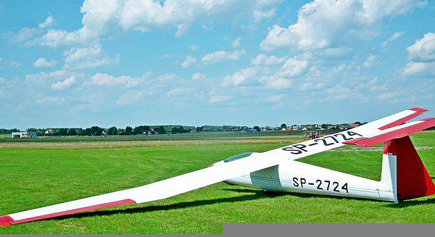 Glider, Airport, Wings, Aircraft, Flying, Sky, Clouds