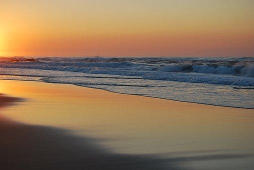 Sunset, Ocean, Orange, Sea, Sky, Seascape, Waves, Beach