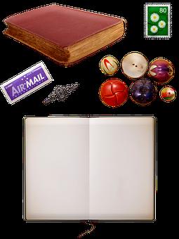 Book, Stamps, Buttons, Journal, Air Mail, Junk Journal