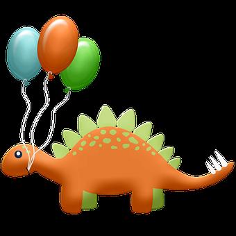 Dinosaur, Balloons, Reptile, Cartoon, Cute, Funny