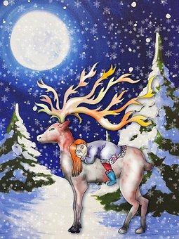 Deer, Girl, Winter, Friendship, Kid, Child, Sleeping