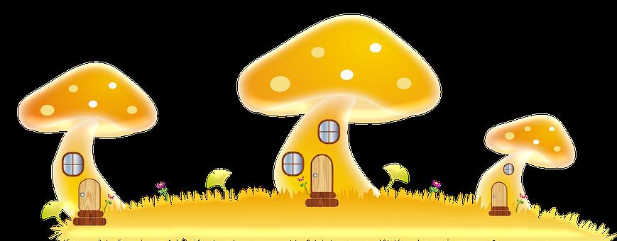 Cottage, Mushroom House, Fairy, Doors, Door, Mushroom