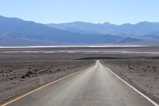 Road, Desert, Death Valley, California, Dry, Nevada
