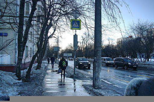 Spring, Snow, Boulevard, Evening, Street, March, Sky