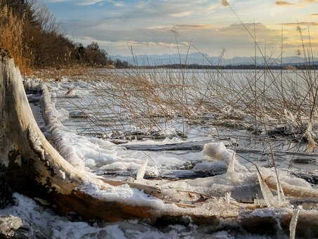 Lake, Ice, Frost, Woods, Forest, Winter, Wintry, Snow