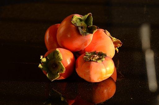 Persimmon, Orange, Dark, Fruit, Persimmons, Sweet, Fall