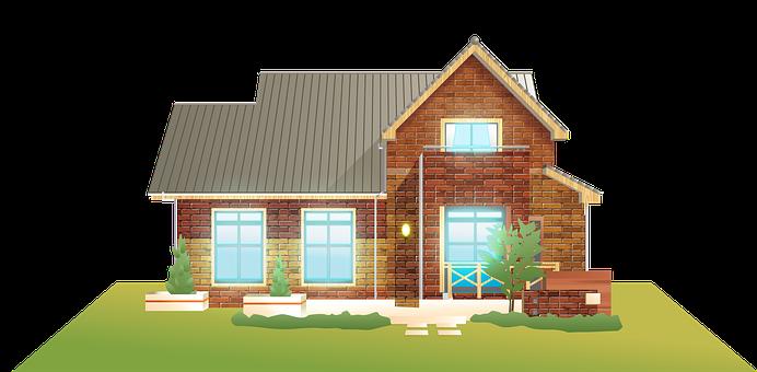 Brick House, Windows, Brick, Grass, Architecture