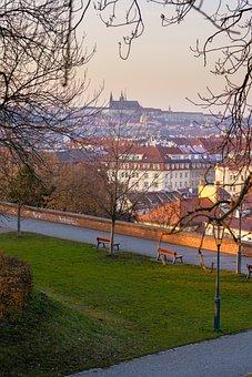 Prague, Park, Sunset, Vysehrad, Nature, Landscape