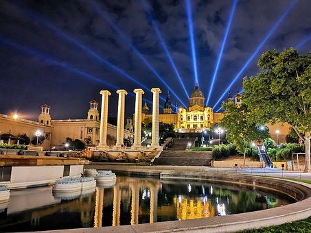 Buildings, Fountain, Columns, Lights, Night