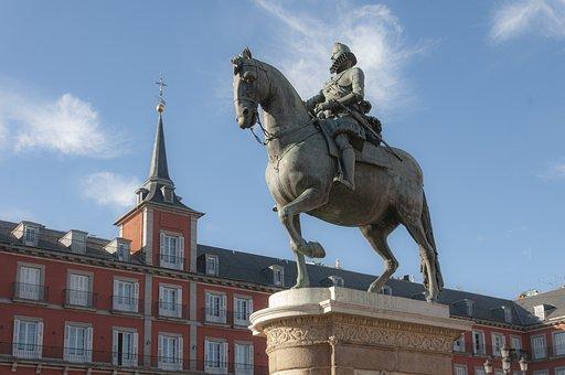 Monument, Statue, Horseman, Spain, Madrid, Architecture