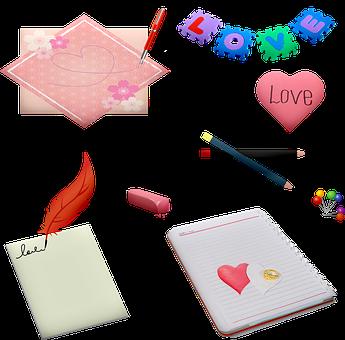 Paper, Pencils, Eraser, Scrapbook, Pens, Love
