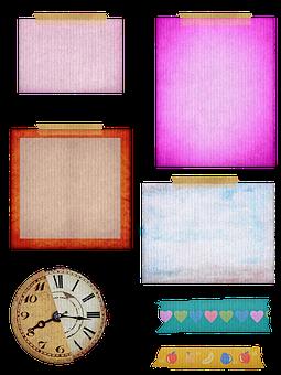 Paper Scraps, Clock, Washi Tape, Scrapbooking