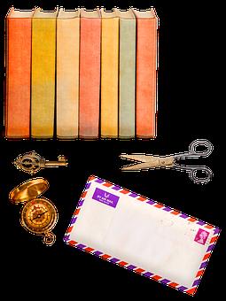 Book, Stamps, Journal, Keys, Pocket Watch