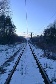 The Way, Railway, Landscape, Winter, Sunset, Rails